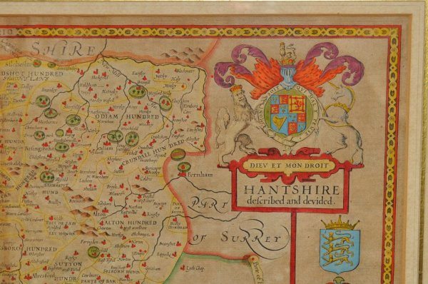 Image for Hantshire, Described and Divided. Original Antique Engraved Hand Coloured Map of Hampshire. With Plan of Winchester, Arms of Nobles and Description of County on rear. Double-Glazed.