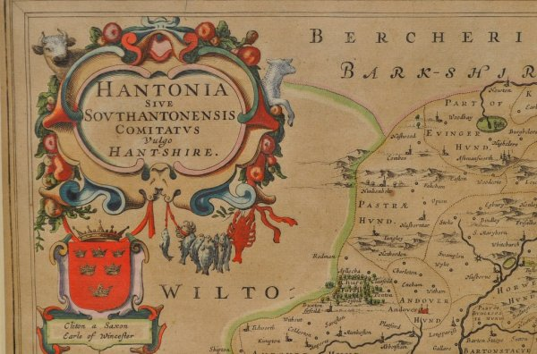Image for Hantonia Sive Southantonensis Comitatus Vulgo Hantshire. Original Antique Engraved Hand Coloured Map of Hampshire. With, Arms of Nobles and County Crest. Description of County on Rear.