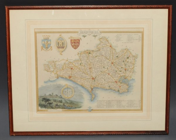 "Image for Antique Original Engraved Map of Dorsetshire. With ""Reference to the Hundreds and Liberties."""