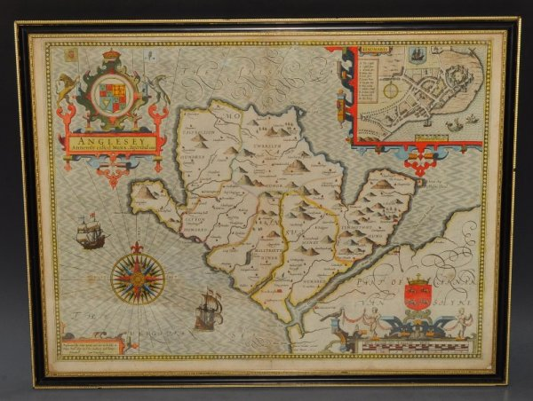 Image for (Map of) Anglesey, Antiently Called Mona. Original Antique Engraved Hand Coloured Map of  Anglesey. With, Arms of Nobles and County Crest. & Plan of County Town. Illustrations of Scribes to bottom corners.
