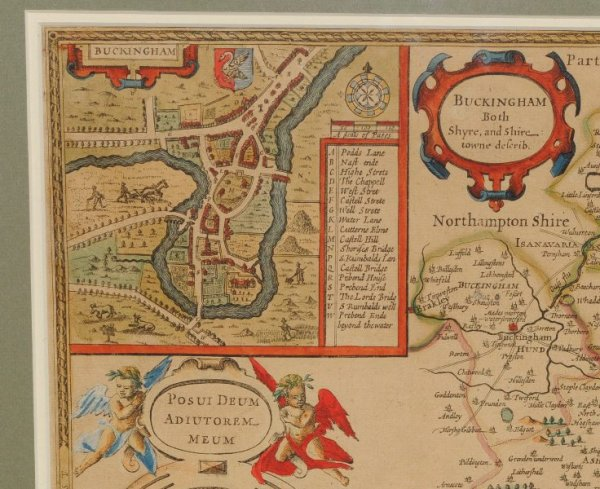 Image for (Map of) Buckingham, Both Shyre and Shire-Towne describ. Original Antique Engraved Hand Coloured Map of Buckinghamshire. With, Arms of Nobles and County Crest. & Plan of County Town & Reading (Redding). Illustrations of Cherubim to sides.