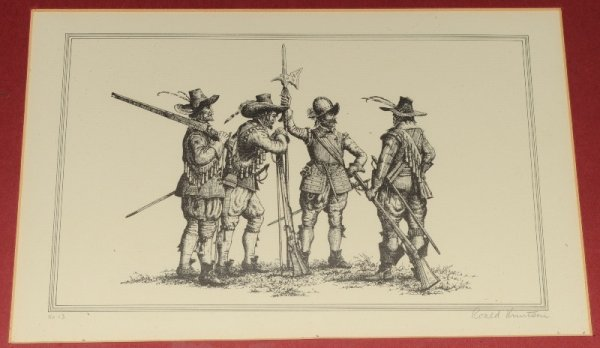 Image for Seven Prints Depicting English Civil War Soldiers. Individually Numbered & Signed.