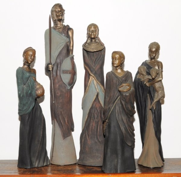 Image for 'Soul Journeys' Five Statuettes of African Maasai Tribal Women Limited Edition Resin Figures.