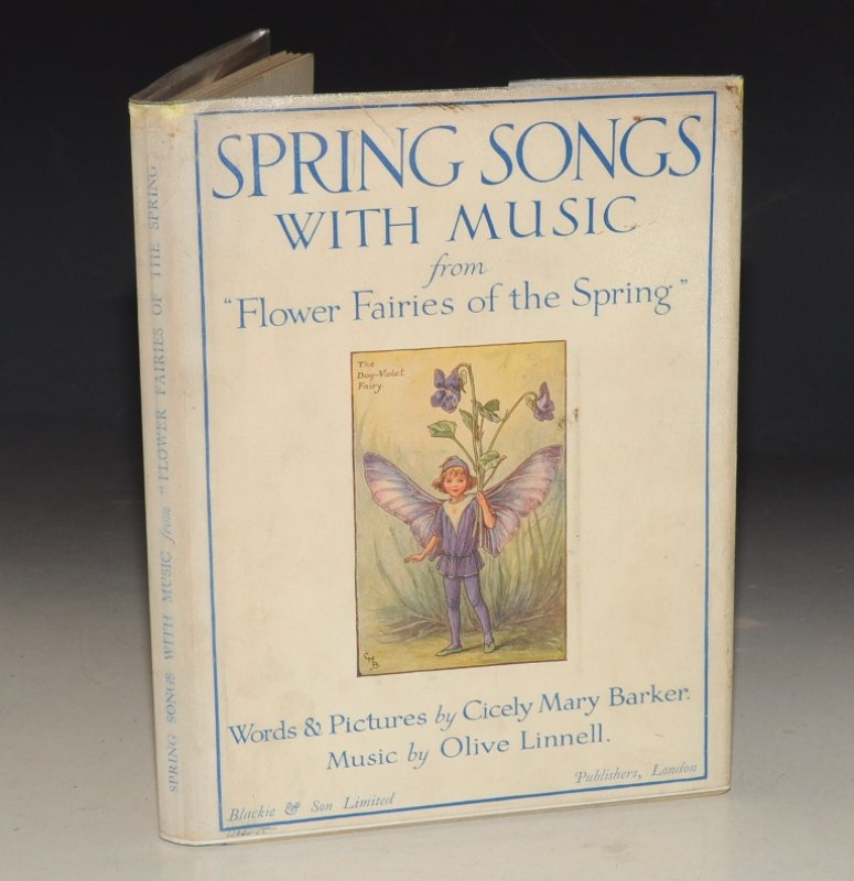 "Image for Spring Songs with Music From ""Flower Fairies of the Spring"". Words & Pictures by CMB. Music by OLIVE LINNELL."
