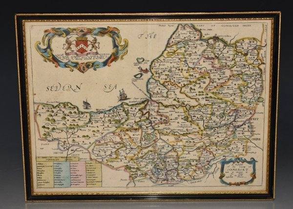 "Image for Engraved Hand-Coloured Map of Somersetshire; ""A Mapp of the County of Somerset"" With its Hundreds."