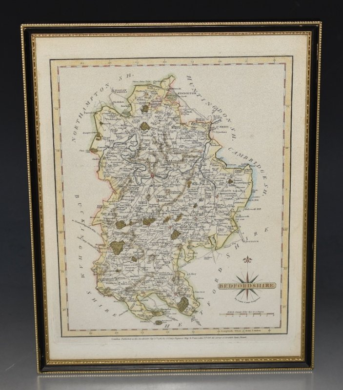 Image for Original Antique Hand Coloured Engraved Map of Bedfordshire.