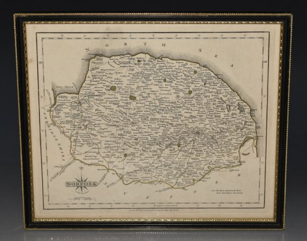 Image for Original Antique Hand Coloured Engraved Map of Norfolk. Double-sided Map with Description of County printed on rear.