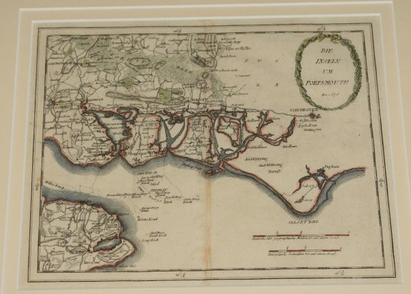 "Image for Original Antique Hand Coloured Engraved Map of ""Die Inseln um Portsmouth"" Copper-plate Engraved Map. ""The Islands Around Portsmouth. No. 678."""