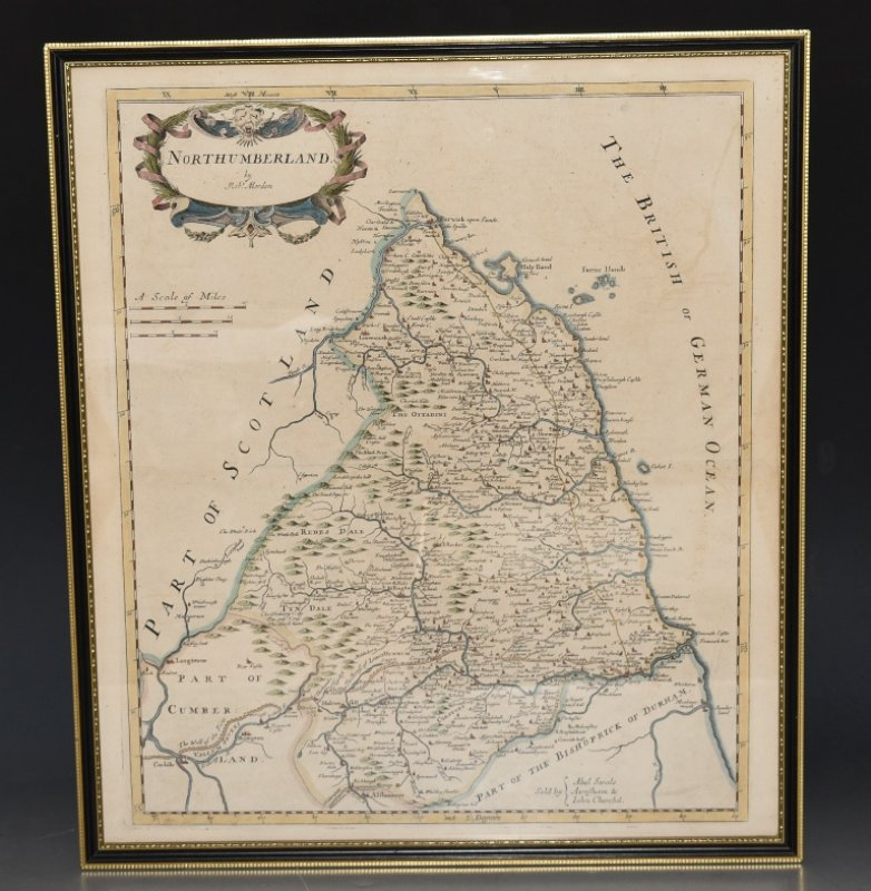 Image for Original Antique Hand Coloured Engraved Map of Northumberland.