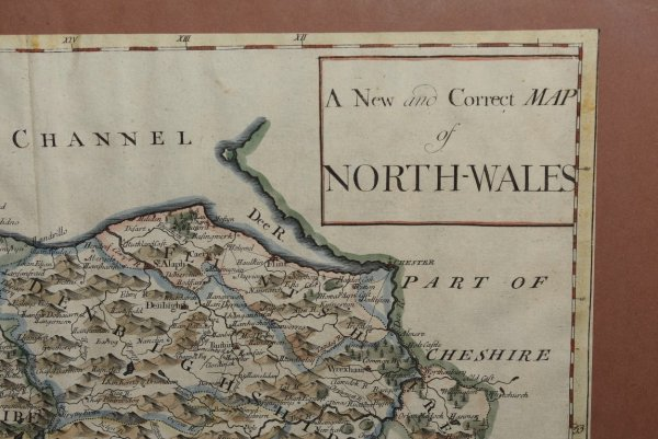 "Image for Original Antique Hand Coloured Engraved Map of North Wales ""A New and Correct Map of North Wales."""