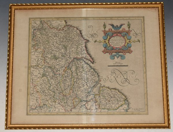 Image for Original Antique Engraved Hand-Coloured Map of Eboracum, Lincolnia, Derbia, Staffordia, Nottinghamia, Lecestria, Rutlandia, et Norfolcia. A map showing the south-western part of England
