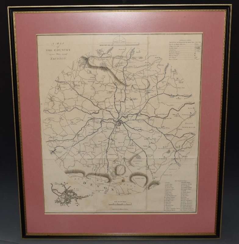 "Image for Original Antique Engraved ""Map of the Country Seven Miles Round Taunton."" Engraved for The History of Taunton by Joshua Toulmin."