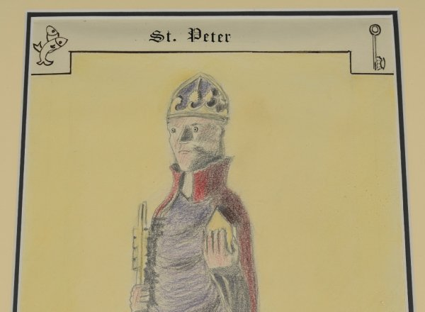 "Image for ""St. Peter,"" Bere Regis Church Original Artwork in Pencil, Crayon and Ink."