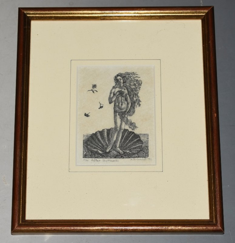 "Image for Original Engraved Woodcut Block Print ""After Botticelli"" Limited Edition Original Woodcut Print, Numbered 1/30 and signed by Artist in pencil."