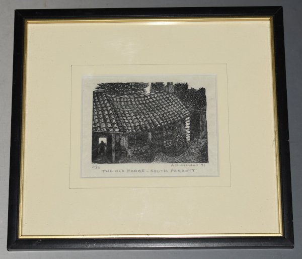 "Image for Original Engraved Woodcut Block Print ""The Old Forge, South Perrott"" Limited Edition Original Woodcut Print, Numbered 1/30 and signed by Artist in pencil."