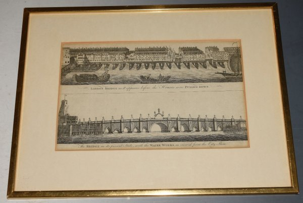 "Image for Original Antique Engraving of Views of ""London Bridge, as it appeared Before the Houses were Pulled Down."" View of London Bridge in its Present State with the Water Works as Viewed from the City Shore. Originally Published in Thornton's History of London, 1784."