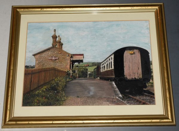 "Image for Original Artwork ""West Bay Station, Bridport."" Original Artwork in Pen, Crayon and Ink."