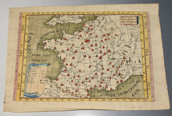"Image for Early Antique Engraved Hand-Coloured Map of ""Gallia"" France"