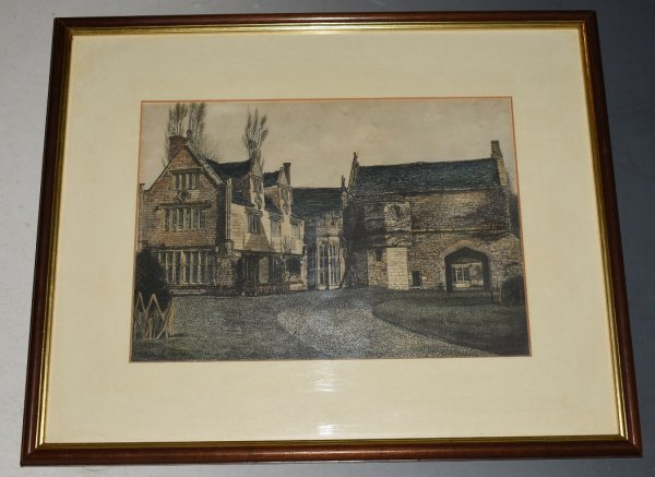Image for Original Watercolour Etching of Athelhampton House from Stone Plate.