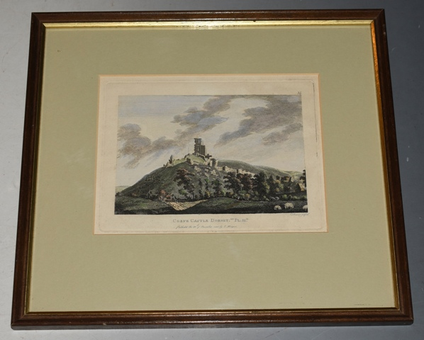 "Image for Original Hand Coloured Engraving of Corfe Castle Dorset ""RE. Pl.II.D."" Published the 20th November 1783 by S. Hooper. T. Bonner Sculpt."