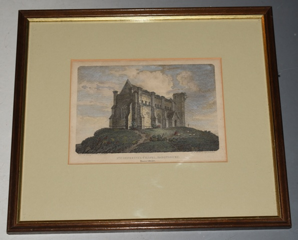 "Image for Original Hand Coloured Engraving of ""St. Catherine's Chapel, Abbostbury,"" Dorset Engraved by J. Greig from a drawing by C. Dayes, Published by Vernor & Hood. For the Beauties of England and Wales."
