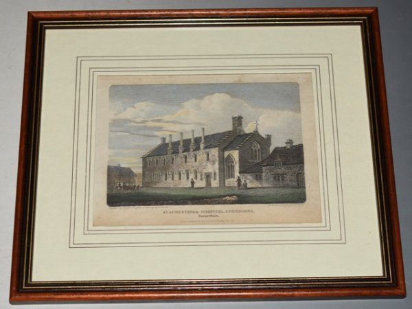 "Image for Original Hand Coloured Engraving of ""St. Augustine's Hospital, Sherborne, Dorsetshire."" Engraved by W.G. Cooke from a drawing by J. Buckler, Published by Vernor & Hood. Oct 1803. For the Beauties of England and Wales."