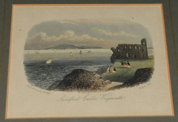 "Image for Original Hand Coloured Engraving, View of Sandfoot Castle, Dorset View of Sandfoot Castle, showing the Island of Portland in the background. With figures and various sailing vessels. ""Rock & Co. No. 3103."""