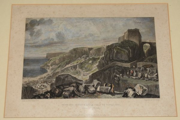 Image for Original Hand Coloured Engraving, Bow and Arrow Castle, Isle of Portland, Dorsetshire View of Bow and Arrow Castle, on Portland Bill, showing stone quarry figures in the foreground. J.M.W. Turner R.A. Delt. W.B. Cooke, Sculpt.