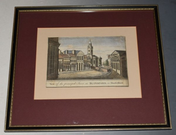 Image for Original Hand Coloured Engraving, View of the Principal Street in Blandford, in Dorsetshire Copper engraved View of the High Street in Blandford, Dorset.