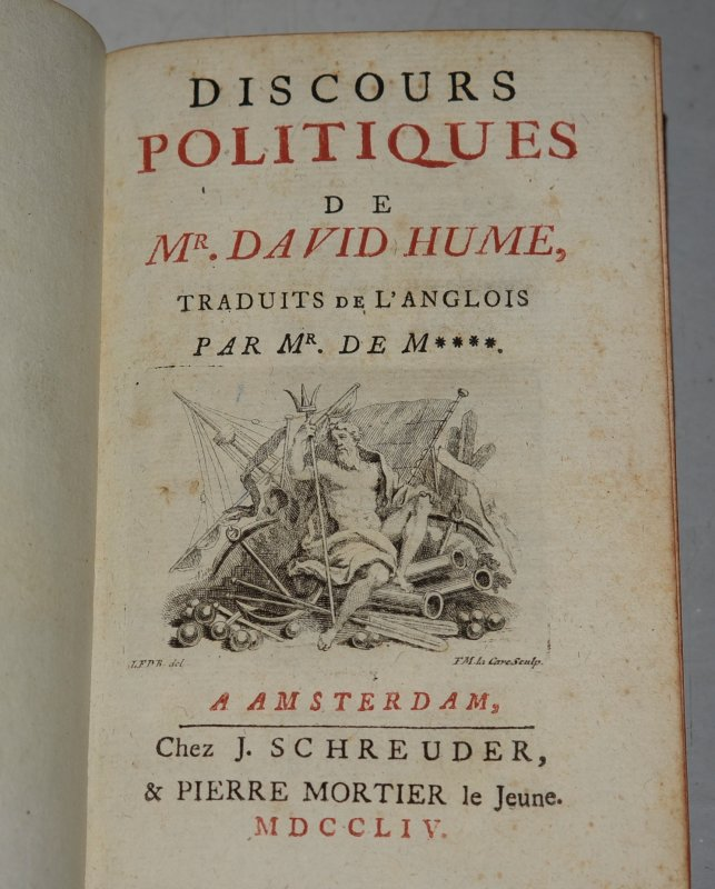 Image for Discours Politiques De Mr. David Hume Traduits de L'Anglois par Mr. De M****. (Political Speeches by Mr. David Hume, Translated from the English.)