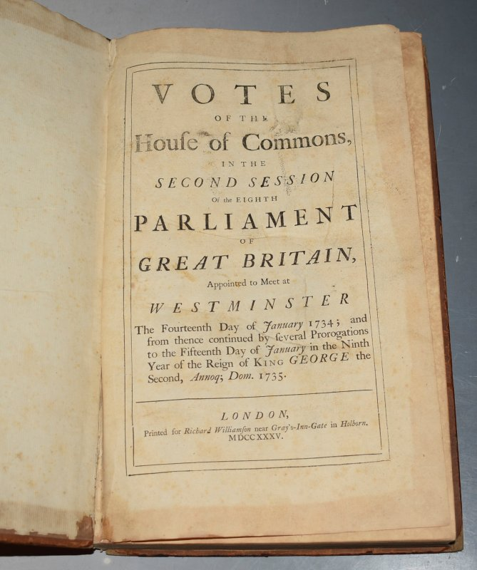 Image for Votes of the House of Commons, In The Second Session of the Eighth Parliament of Great Britain, Appointed to meet at Westminster, The Fourteenth Day of January 1734, and from thence continued by several prorogations to the fifteenth day of January in the Ninth Year of the Reign of King George the Second, 1735.