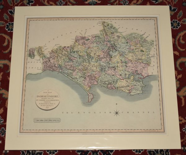 Image for ORIGINAL ENGRAVED MAP OF DORSETSHIRE. A New Map of Dorsetshire Divided into Hundreds, Exhibiting it's Roads, Rivers, Parks, etc.