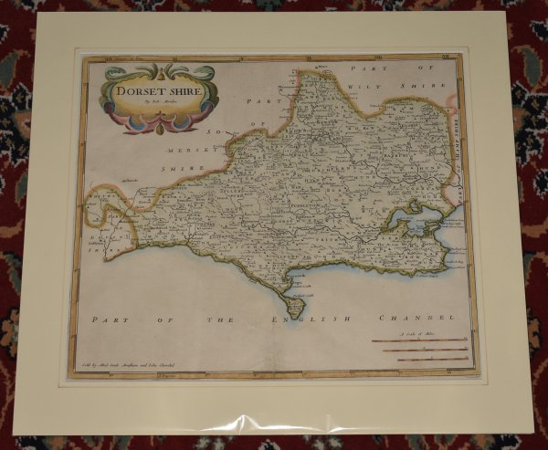 Image for Original Engraved Map of Dorsetshire (Dorset) Sold by Abel Swale, Awnsham, and John Churchil.