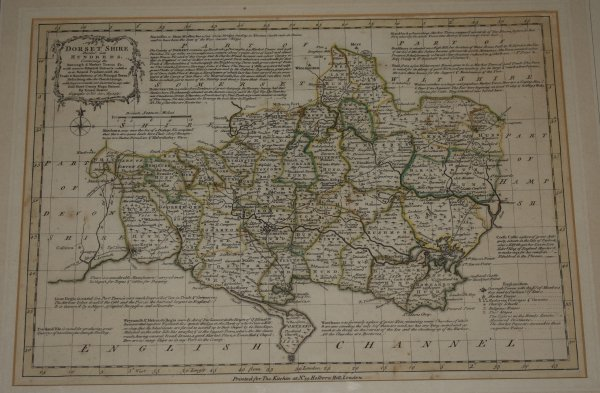 "Image for Original Hand Coloured Engraved Antique Map of ""Dorsetshire Divided into Hundreds"" Containing the Borough and Market Towns &c. With concise historical extracts relative to its Natural Produce, with the trade & manufacturers of the principle towns. Describing also the Church Livings, with improvements not inserted in any other half sheet county maps extant."