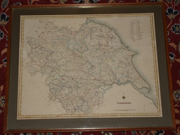 Image for Original Hand Coloured Engraved Map of Yorkshire From the Topographical Dictionary Of England.