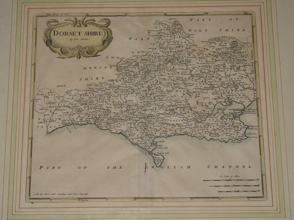 Image for Original Engraved Map of Dorset shire Sold by Abel Swale, Awnsham, and John Churchil.