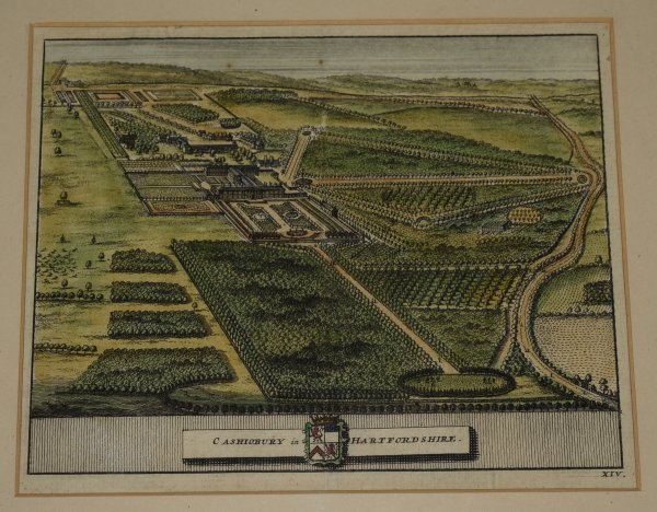 "Image for Original Hand Coloured Engraving of ""Cashiobury in Hartfordshire"" Cashiobury Mansion, demolished in 1927. Engraved view of the house and park, From James Beeverell's ""Les délices de la Grande Bretagne, c1707."""