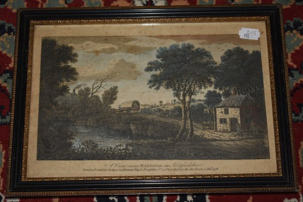 "Image for Original Hand Coloured Engraving of ""A View Near Watford in Hertfordshire"" Printed for R. Sayer and J. Bennett, Map and Printsellers, Fleet Street, Dec 1778."
