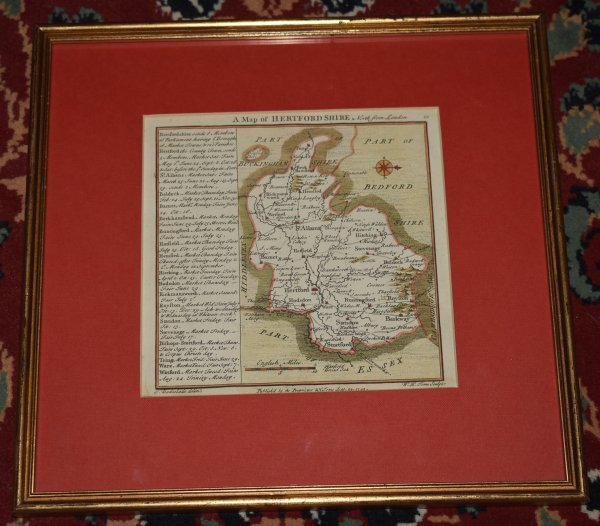 "Image for Original Antique Engraved Hand Coloured Map of Hertfordshire ""A Map of Herfordshire North From London."""