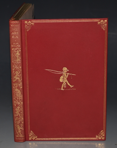 Image for Now We are Six. By A. A. Milne with Decorations by Ernest H. Shepard. First Edition in Deluxe Leather Binding.