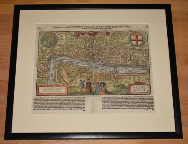 "Image for EARLY LARGE RARE MAP OF LONDON 1598 "" Londinum Feracis: Angliae. Metropolis."""