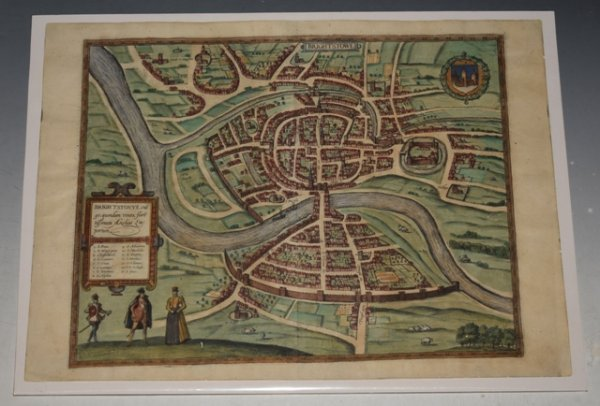 Image for Original Antique map - Bird's-eye plan of Bristol. Brightstowe, Vulgo; Quondam Venta, Florentissimum.