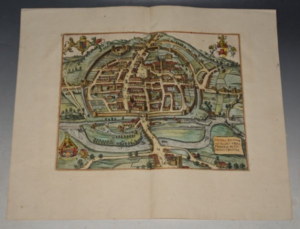 Image for Original Antique map - Bird's-eye City of Exeter. Civitas Exoniae (vulgo Excester) Urbs Primaria in Comitatu Devoniae.