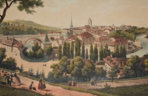 "Image for DEROY ISIDORE LAURENT Lithograph Panoramic View Bern City in Switzerland 1850 Splendid panoramic view from the ""Suisse"" series."