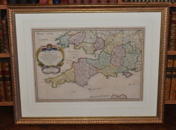 "Image for Original Hand Coloured Engraved Map ""Provinces d'West, autrefois Royaume d'Westsex, ou sont Aujourdhuy les Comtés Hant-shire, et l'Isle de Wight, Barcksh. Devon-sh. et Cornwall-sh., & "" Sanson's double-page engraved map of Cornwall, the Isle of Wight, and southern Wales."