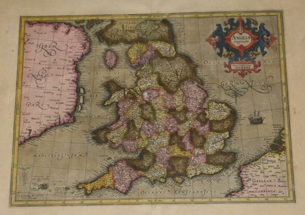 "Image for EARLY LARGE RARE MAP OF ENGLAND 1595 "" Anglia Regnum."" From the French text edition of Mercator's Atlas III"