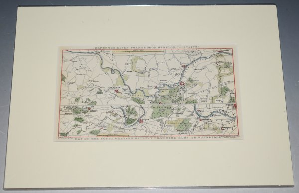 Image for Original Map of the River Thames from Hampton to Staines. Map of the South Western Railway from Nine Elms to Weybridge