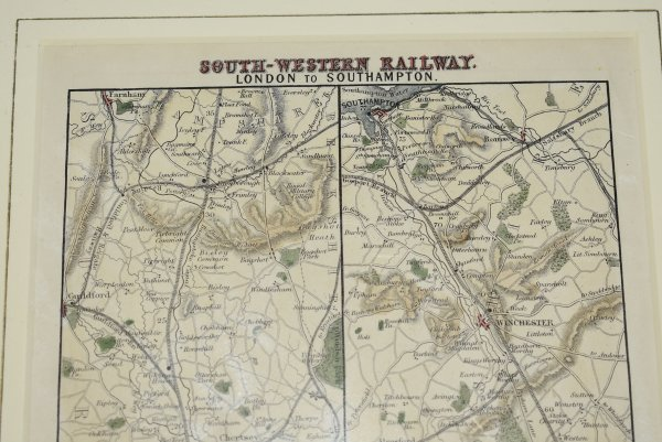 Image for Original Map SOUTH-WESTERN RAILWAY. London to Southampton.