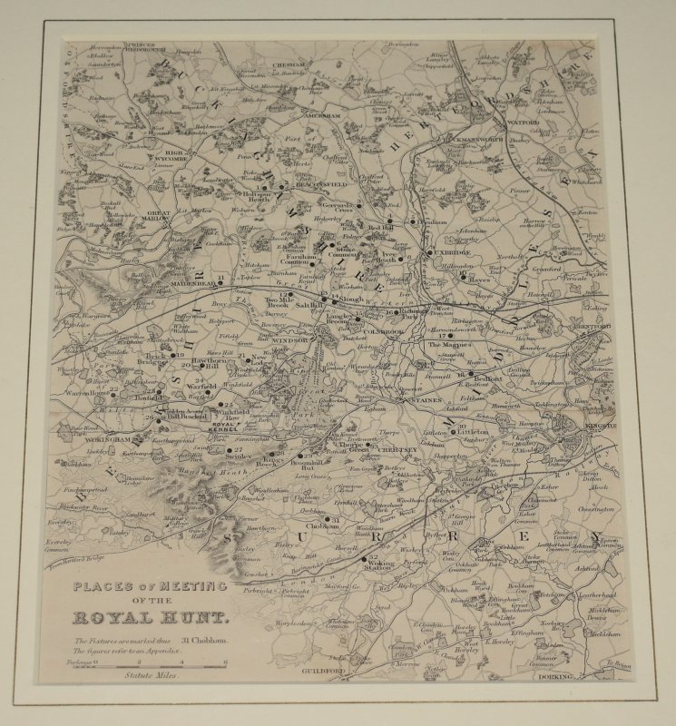 Image for Original Places of Meeting of the Royal Hunt Map. Surrey, Buckinghamshire, Middlesex.