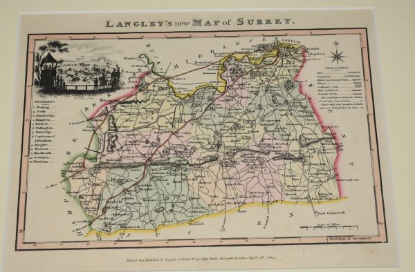 Image for Langley's New Map of SURREY. Original Antique Engraved Hand Coloured Map of SURREY. With Illustrated Vignette of Epsom Races, Explanation and List of Hundreds.